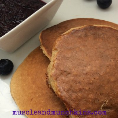 Protein Pancakes: Banana Oat with Blueberry Chia Jam